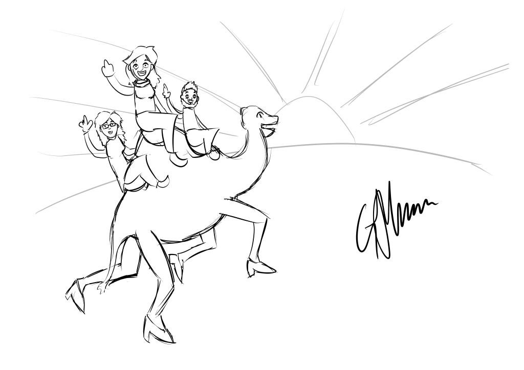 Laura, George, and Elodie riding on a camel into the sunset.
