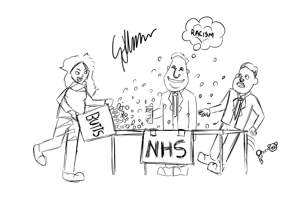 Laura throwing £20,000 in pound coins at an NHS stand manned by David Cameron and Nigel Farage.