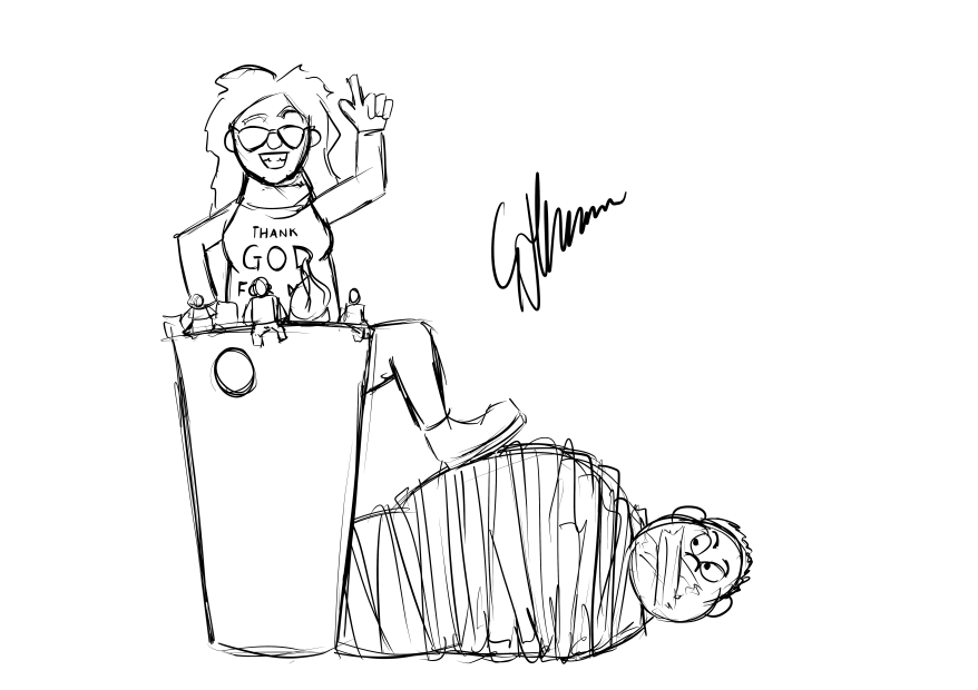 Laura taking over the Jimquisition after hogtying Jim and placing him on the ground.