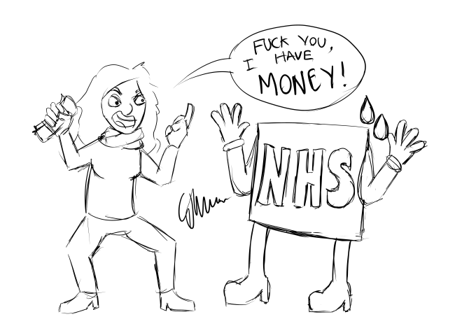 Laura swearing at an NHS sign declaring that she has money now and doesn't need it.