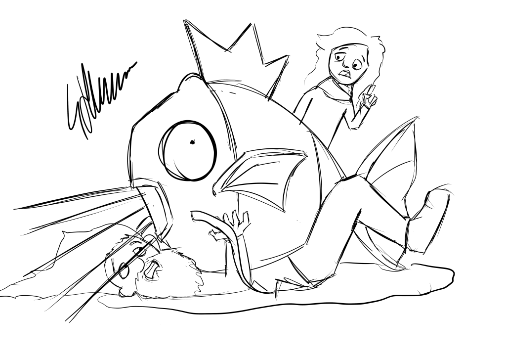 Andy being crushed by a Magikarp using splash whilst Laura watches on, concerned.