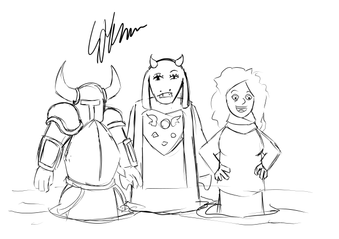 Laura, Toriel, and Shovel Knight wading through thigh-deep Marmite.